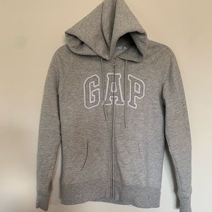 Gap Spellout Zip Up Hoodie Grey Size Small